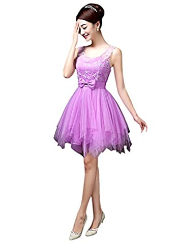 Honeystore Damen's A-Linie/Princess-Linie Knielang Tüll Ärmellos Brautjungfernkleid Abendkleid mit Reißverschluss 27#Rosa Violett (Kostüm Farbige Kontakte Günstige)