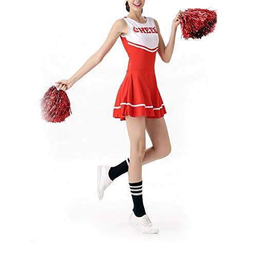 BESTOYARD Cheer Leader Costume Musical Party Sportveranstaltung Halloween Kostüm für Damen Mädchen (Rot/Weiß) Länge 77cm, Gr. M  (Cheerleader Kostüm Frauen)