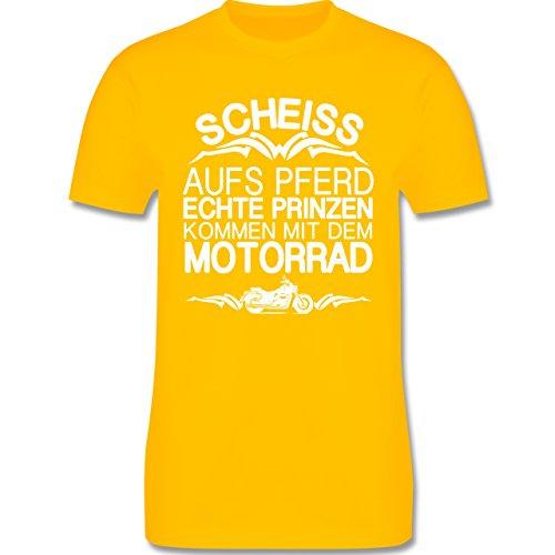 Motorräder - Scheiß aufs Pferd echte Prinzen kommen mit dem Motorrad - Herren Premium T-Shirt Gelb
