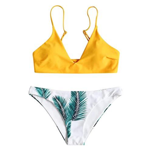 Ncenglings Damen Gepolsterter Bikini Set Bademode Badeanzug mit Blatt Pattern Zweiteilig, Blattmuster in Reiner Farbe Geteilter Badeanzug Schwimmanzug Beachwear -