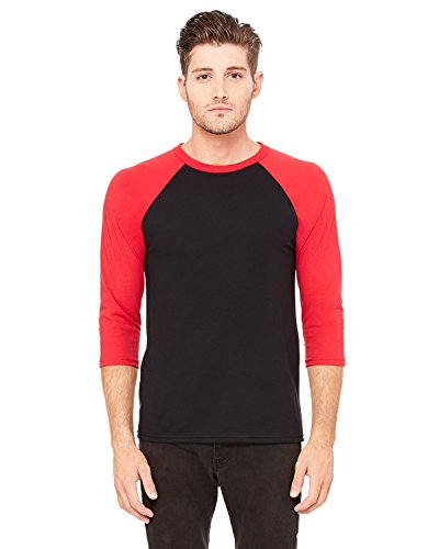Delifhted Adult 3/4 Sleeve Blended Baseball Tee Black / Red