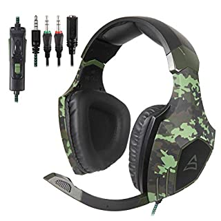 [Xbox One,PS4 Stereo Gaming Headset] SUPSOO G820 Gaming Headphones for New Xbox One, PS4 Controller,3.5mm Wired Over Ear Noise Cancelling with Mic & Volume Control & Bass Surround for Mac/PC/Laptop