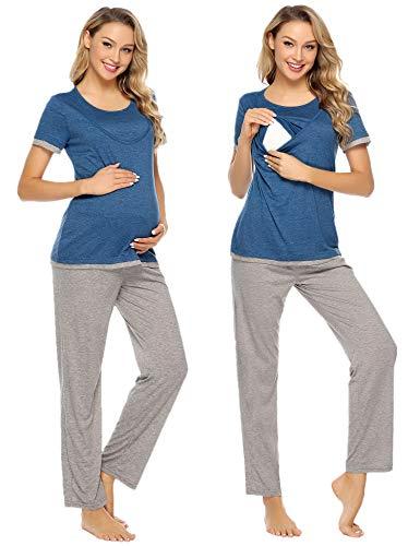Aibrou Damen Stillpyjama Kurzarme Zweiteilige Umstandspyjama Set Stillshirt und Hose Marineblau S
