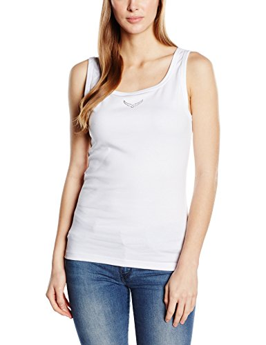 Trigema Damen Top Träger-shirt mit Swarovski® Kristallen Weiß (Weiß 001)