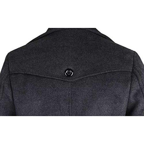 Sumchimamzuk Herren Wintermantel Zweireihig Warm Jacken Dark Grey