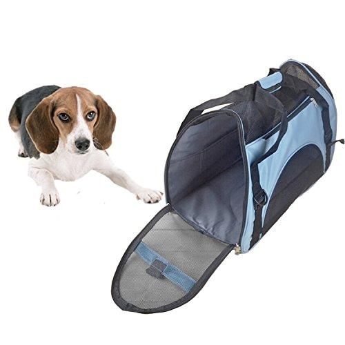 Moda portatile cane gatto Carrier viaggio borsa cane gatto Carry Bag borsa Tote cucciolo borsa a tracolla taglia L blu