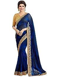 Kaavi Fab Women's Georgette Navy Blue Thread Work Designer Saree