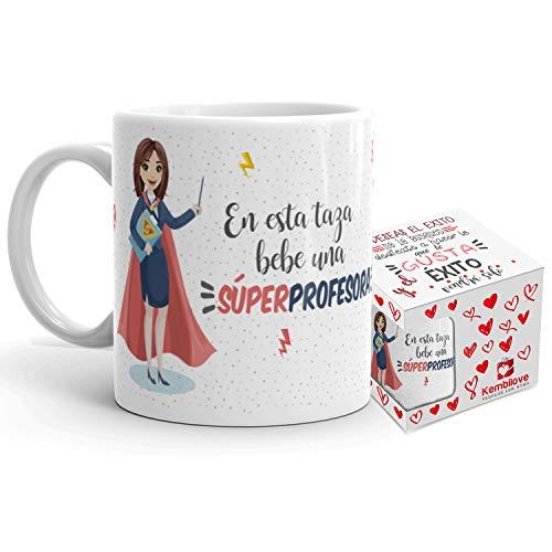 Kembilove Taza de Café Profesora - En Esta Taza Bebe una Súper Profesora - Taza de Desayuno para la Oficina - Taza de Café y Té para Profesionales - Taza de Cerámica Impresa - Tazas de 350 ml