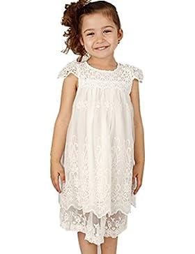Bowdream - Vestido con flores de encaje para niña, diseño vintage