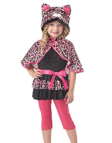 Cutesy Kitty Katze Mädchen Kinder Halloween Fasching Karneval Kostüm Pink leopard (104-116) (Kinder Cat Halloween Kostüme)