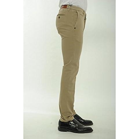RE-HASH Pantalone WINTER MUCHA P249 CR5917 tasca america Slim Fit cotone elasticizzato Col. KAKI (beige)