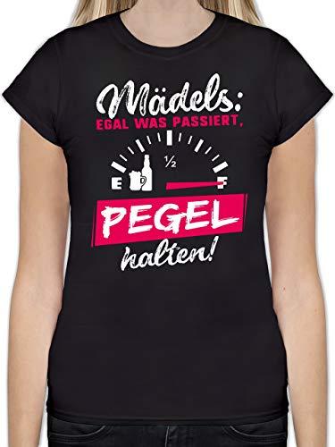 Typisch Frauen - Mädels: Egal was passiert, Pegel halten! - XXL - Schwarz - L191 - Tailliertes Tshirt für Damen und Frauen T-Shirt