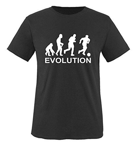 Comedy Shirts Evolution Soccer. Herren T-Shirt T-Shirt Größe XXL - Schwarz/Weiss