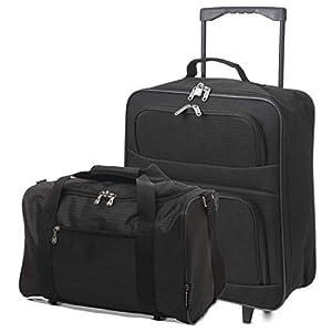 5 Cities Ryanair Maleta Plegable para Equipaje y 40x20x25 Tamaño máximo de la Cabina Holdall Set (Negro + Negro)