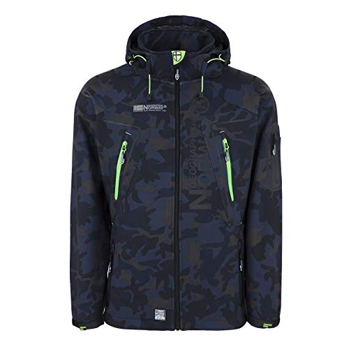 Geographical Norway Herren Softshell Outdoor Jacke Tambour/Taco/Techno abnehmbare Kapuze Navy/Green M