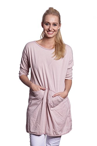 Abbino 7005-18 Damen Shirts Tops - Made in Italy - 6 Farben - Übergang Frühling Sommer Herbst Basics Damenshirts Damentops Baumwolle Unifarbe Locker Taillenlang Sexy Elegant Sportlich - One size Rosa
