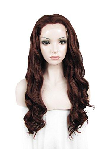 Imstyle Charmant Deep Auburn Couleur longue Eau ondulée Texture résistant à la chaleur synthétique Lace Front Perruques