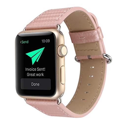 JiaMeng Banda de Reloj del reemplazo de la Correa de Cuero de la Fibra de Carbono para el Reloj 42m m de Apple(Oro Rosa,42MM)