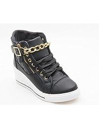 Mujeres Dama Nueva Zapatillas Cuña lateral con cremallera Encaje Cadena Smart zapatos de Casual talla UK 3–8