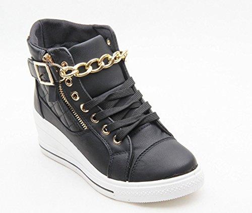 Femmes Mesdames Nouveau Trainer Wedge côté Zip Chaussures chaîne dentelle Smart Casual Taille 3–8 Noir - noir