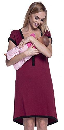 Kurzarm-nachthemd (HAPPY MAMA. Damen Umstands-Nachthemd mit Stillfunktion. Stillshirt Kurzarm. 981p (Purpur & Schwarz, EU 44/46, 3XL))