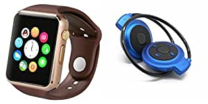 MIRZA Bluetooth A1 Smart Watch & Bluetooth Headset for LG g2 lite(Mini 503 Bluetooth Headset & A1 Smart Watch Watch Phone with Camera & SIM Card Support Hot Fashion New Arrival Best Selling Premium Quality Lowest Price with Apps like Facebook,Whatsapp, Twitter, Sports, Health, Pedometer, Sedentary Remind,Compatible with Android iOS Mobile Tablet-Assorted Color)