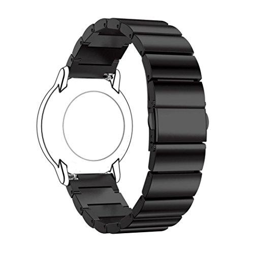 Preisvergleich Produktbild Sansee Perlen Edelstahl Universalband 22mm Edelstahl poliert Uhrenarmband Armband für Uhren mit 22mm Bandbreite (Schwarz)