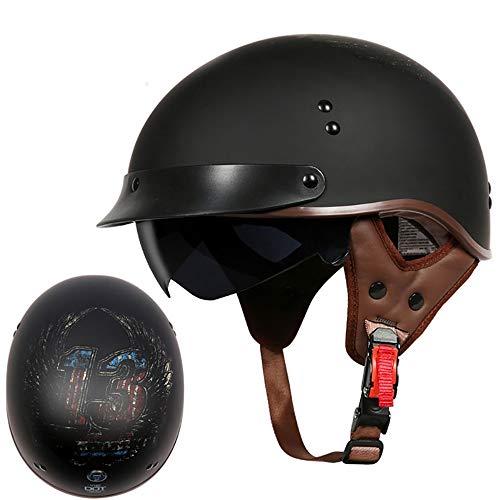 GYOUC Halber Motorradhelm,Vintage Harley Helme mit Brille Bike Cruiser Scooter Halbschale Jet-Helm EIN Leichter Helm Für Eine Mitfahrgelegenheit Unisex