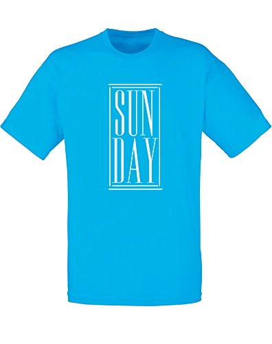 Brand88 - Brand88 - Sun Day, Mann Gedruckt T-Shirt Azurblau/Weiß