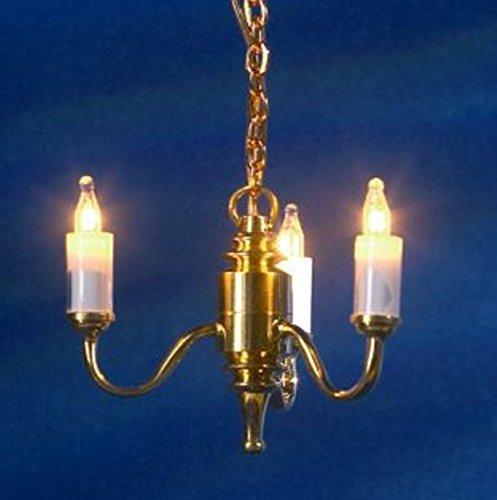 Arm-kerze Kronleuchter (Melody Jane Puppenhaus 3 Arm Kerze Kronleuchter Messing gold Miniatur Elektrische Deckenleuchte)