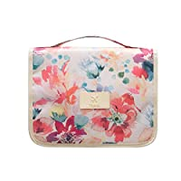 Comfysail Waterproof Flower Print Portable Hanging Travel Toiletry Bag Cosmetic Bag Organizer for Business,Vacation,Outdoor, Pink, 9.5cm