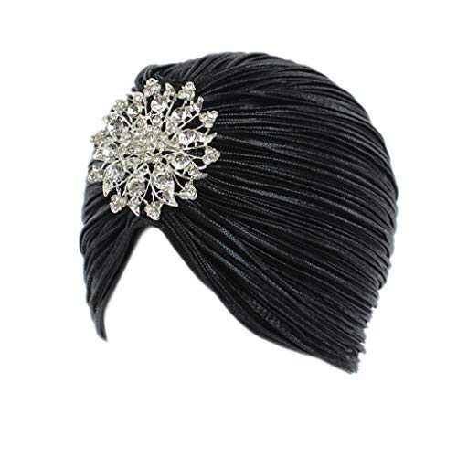 Gudelaa Damen Prinzessin Indian Plissee Hat Turban mit Crystal Flower ()