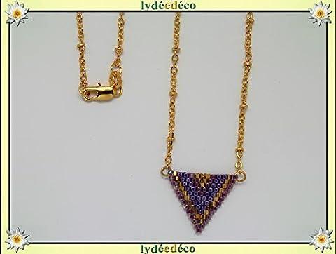 Collier plaqué or perles japonaises violet lilas doré beige tissage