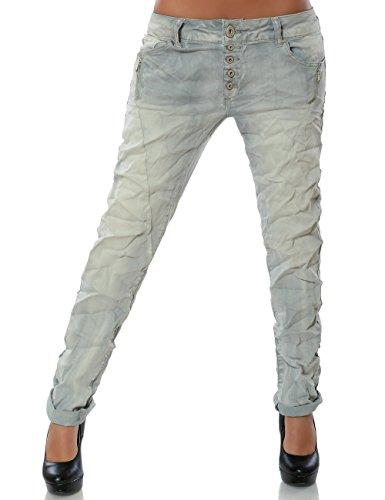 Damen Boyfriend Jeans Hose Reißverschluss Knopfleiste (weitere Farben) No 14242 Grau