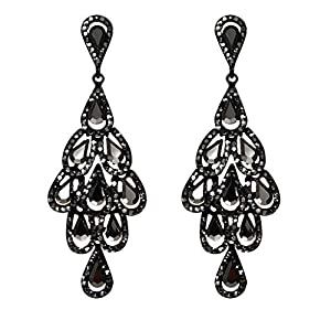 ZYUEER Elegant Advanced Peacock Tail Schwarz Durchbrochener Diamant Damenohrring Jewely
