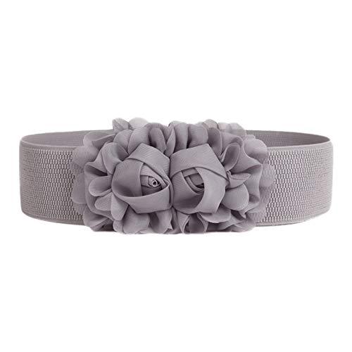 BIGBOBA cinturón elástico Elegante cinturón de Mujer Ajustable con Rosas Dobles (C)