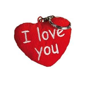 I Love You - Plüsch Herz Schlusselanhänger