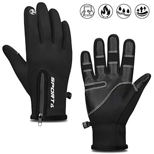 Cevapro Fahrradhandschuhe Outdoor Winddichte Sporthandschuhe Winter Touchscreen Handschuhe Unisex Warme Atmungsaktive Winterhandschuhe mit Reißverschluss für Männer/Frauen (Schwarz, L)