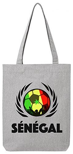Wappen World Cup Fussball WM Bio Baumwoll Tote Bag Jutebeutel Stanley Stella Fußball Senegal Heather Grey