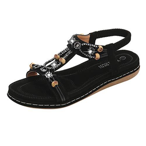 ODRD Sandalen Shoes Lässige Frauen Sandalen Flache weibliche Sandalen Elastic Band Sandalen Casual römischen Sandalen Schuhe Strandschuhe Freizeitschuhe Turnschuhe Hausschuhe
