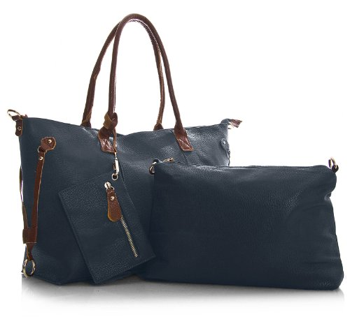 Big Handbag Shop donna top con apertura zip 3 in 1 Borsa Shopper Borsa con tracolla lunga, e portare borsa media Deep Navy