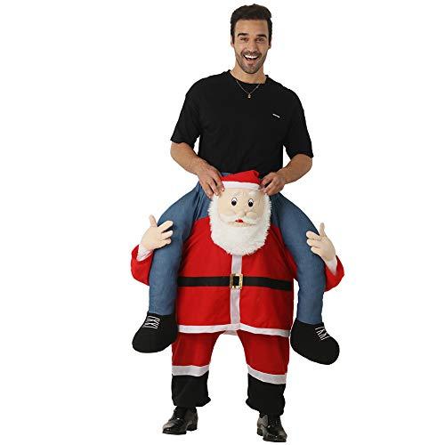 LPATTERN Erwachsene Kostüm- Damen/Herren Weihnachten Huckepack Weihnachtsmann Kostüm, Rot und Weiß, S/M(Herstellergröße: One Size) (Weihnachten Kostüm Für Erwachsene)