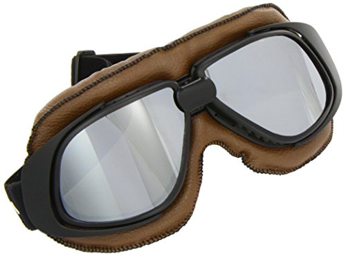 SOXON SG-300 Aviator Oldtimer Motorrad-Brille Vintage Ski-Brille Flieger-Brille Sport-Brille Scooter Vespa Goggles Pilot Cruiser Jet-Brille Biker Schutz-Brille, Leder Design, Braun/Silber, Einheitsgröße