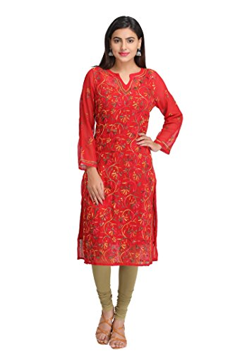 ADA Hand Embroidered Lucknow Chikan Womens Casual Faux Georgette Kurta (A262097_Red)