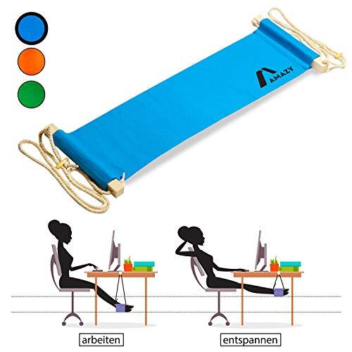 Amazy XXL Fuß Hängematte und für breite Tische bis 2,00 m - Höhenverstellbare und extra breite Fußstütze zur Entspannung und Entlastung am Schreibtisch und im Büro (Blau)