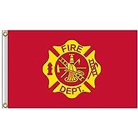 AzuNaisi Praktische Feuerwehr Flagge Durable US Feuerwehrmann Flagge tragbares Metall Grommet Flagge für Festival Veranstaltungen |3 * 5FT Home dekor