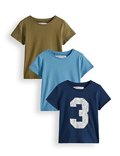 RED WAGON Jungen Crew Neck T-Shirt mit 3-Team Print im 3er-Pack, Mehrfarbig (Multicoloured), 110 (Herstellergröße: 5)