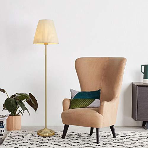 Lampadaires- Abat-jour plissé lampadaire salon chambre vintage laiton lampe de lecture en laiton facile à installer lampe de table verticale (Couleur : Beige)