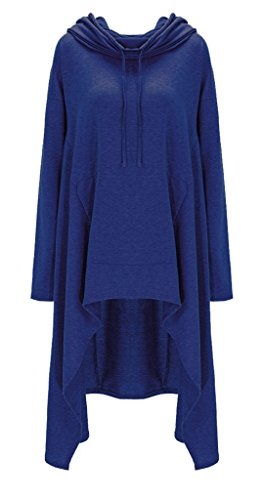 Bigood Robe Pull Long Capuche Sweat-shirt Femme T-shirt Top Manche Longue Casual Mode Bleu