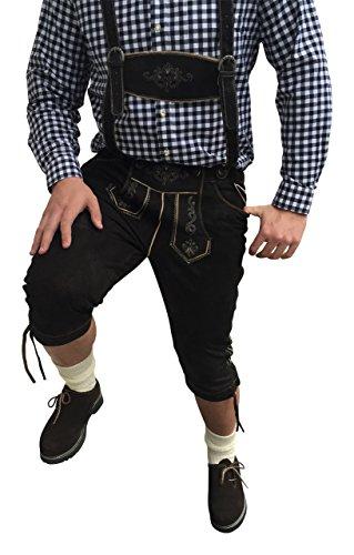 Trachten-Anzug Lederhosen +1x Hemden+Schuhe (Haferl)+Strümpfe Antik Schwarz/ Braun Echt Leder BOCKLEDER (58)